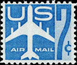 1958 7c Jet Silhouette, Blue Scott C51 Mint F/VF NH - $0.99