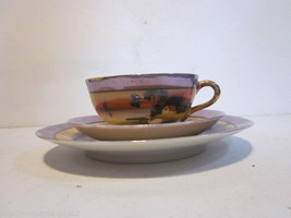 VINTAGE LUSTERWARE ORANGE & BLUE TEA CUP AND PLATES HOUSE BY RIVER PATTERN - $9.99