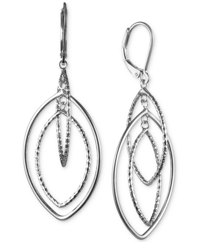 $26 Anne Klein Silver-Tone Diamond-Texture Orbital Drop Earrings - $13.10