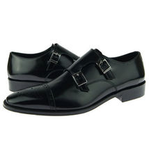 Handmade Men's Black Two Tone Brogues Double Monk Leather Shoes image 3