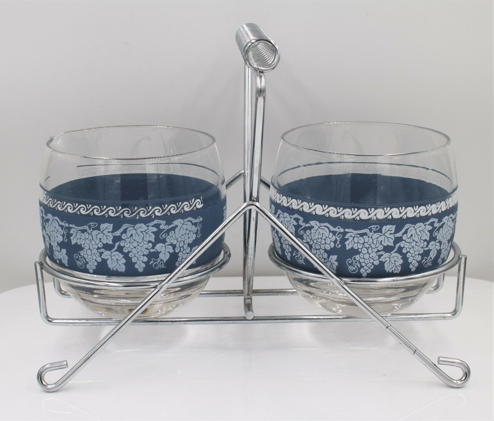 Primary image for Vintage Mid Century Glass Sugar Creamer Condiment Caddy Set with Blue Ivy Trim
