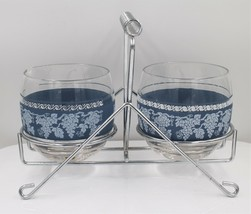 Vintage Mid Century Glass Sugar Creamer Condiment Caddy Set with Blue Iv... - $29.68