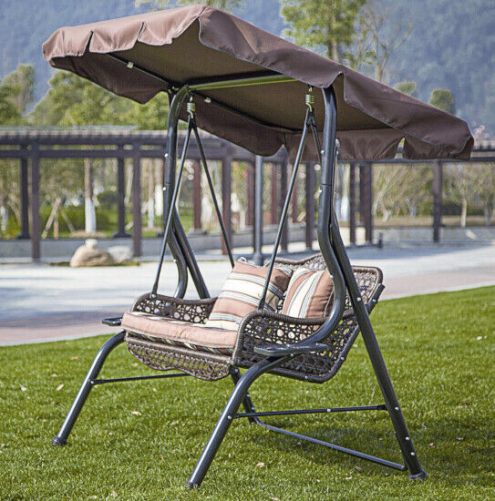Swing With Canopy Porch Bench Glider Adjustable Canopy Patio Wicker Furniture