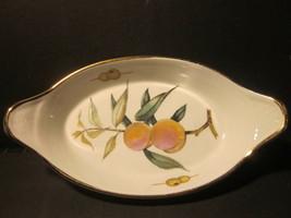 Vintage Royal Worcester Fire Proof Oval Baking Dish Size 10 Peach & Olive Design - $9.99