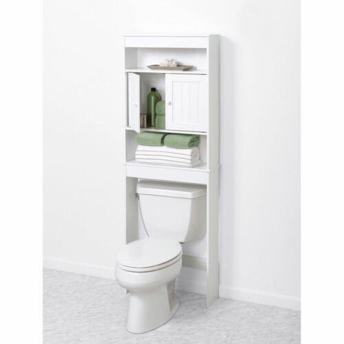 NEW Bath Storage Space Saver Over Toilet Shelf Doors White Bead Bathroom Cabinet