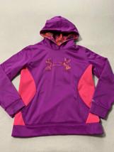 Under Armour YXL Girls XL Pink Purple Big Logo Storm Fleece Hoodie Sweat... - $14.99