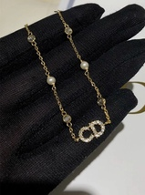Auth NEW Christian Dior CLAIR D LUNE GOLD Crystal Pearl BRACELET  image 7