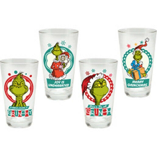 Primary image for Dr. Seuss How The Grinch Stole Christmas Merry Grinchmas 4 pc 16 oz. Glass Set