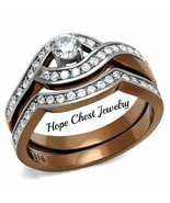 HCJ STAINLESS STEEL LIGHT BROWN TONE CZ BRIDAL WEDDING SET RING SIZE 5 - 10 - $19.79