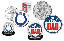 Best Dad INDIANAPOLIS COLTS 2-Coin US Set Quarter & JFK Half Dollar NFL ... - $14.80