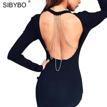 Sibybo Sexy Backless Black Chain Dress Women Fashion O-Neck Long Sleeve ... - $46.41