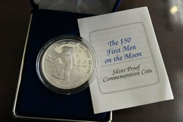 Marshall Islands Commemorative .999 Fine Silver Proof $50 First Men on T... - $34.64