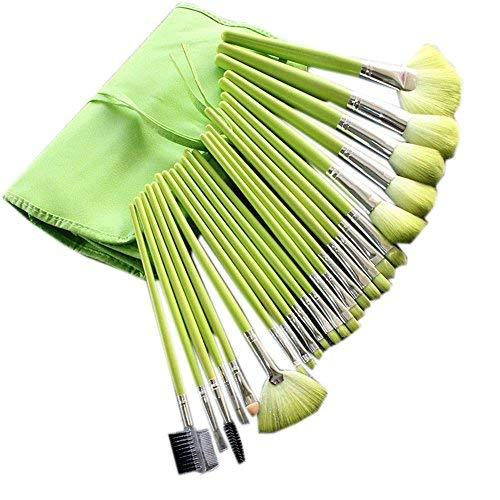 Set of 24 Pro Makeup Brush Set Cosmetic Tools with Case Green