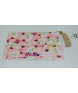 Mary Square 20089  Pink Floral Pouch Multi Color Flowers Off White - $16.00