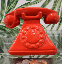 "Vintage Nostalgia Red Rotary Telephone 7""L Money Coin Piggy Bank Decor - $23.99"
