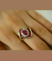 2 Ct Oval Cut Ruby & Diamond Engagement Cocktail Ring 14k Yellow Gold Fi... - $100.98