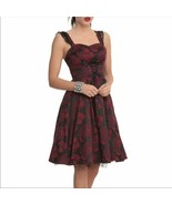 Women's Red Hearts & Roses Corset Style Floral Print Dress sz 12 - $53.22