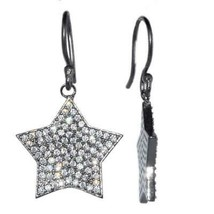 925 Sterling Silver Cluster Pentagram Star Cubic Zirconia Earring - $11.97