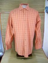 TOMMY HILFIGER  sz L Men Dress Shirt plaid check orange cotton English c... - $9.48