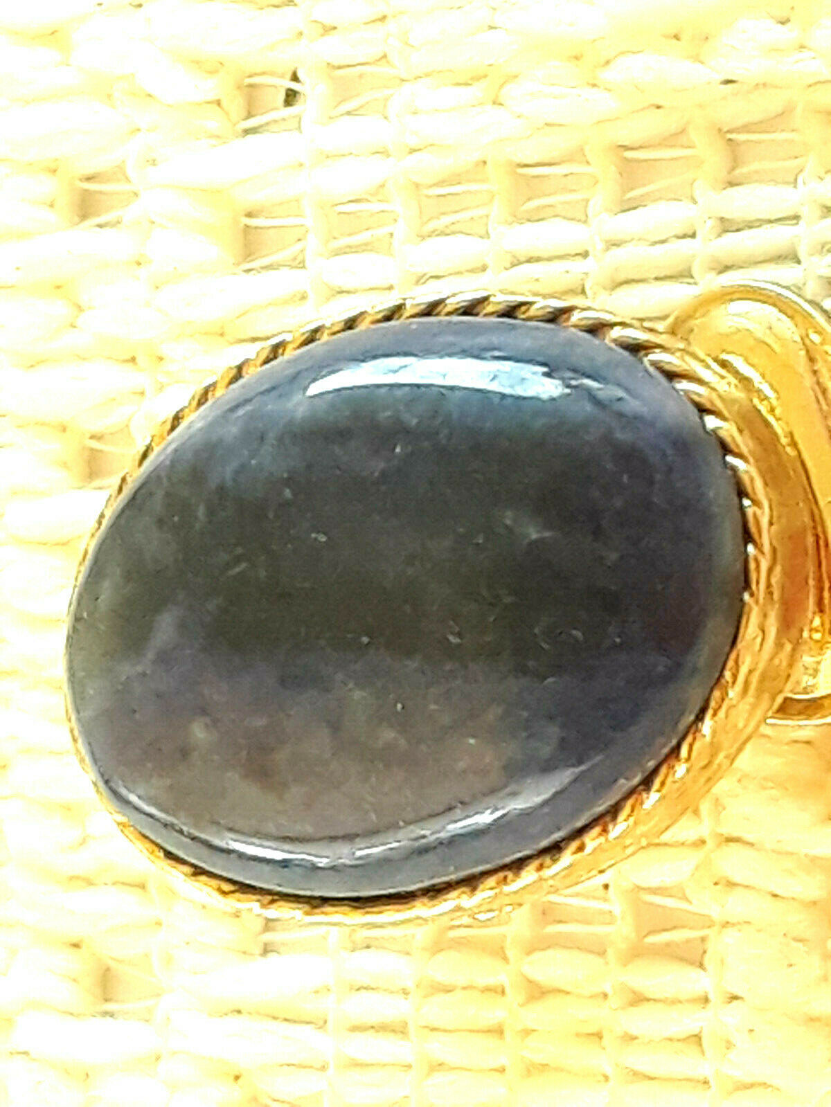 Vintage SIgned Swoboda Blue Stone Lapis Lazuli ?? Gold Tone Clip On Earrings