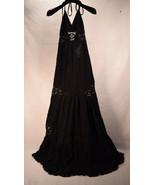 Michelle Jonas Womens Black Laced Halter Maxi Dress Gauze P - $206.91