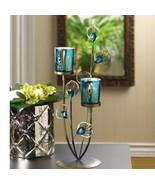 "Large Candelabra BLUE Golden Candle Holder Wedding Centerpiece 14"" Tall - $15.69"