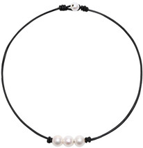 POTESSA Handmade Genuine Leather Knotted White Pearl Beaded Necklace for... - $41.64