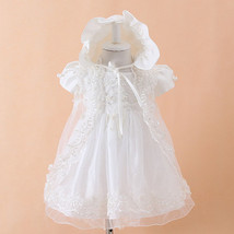 Girl Cream White Lace Pearl Dress Outwear and Hat 6M Wedding Baby Shower... - $24.99