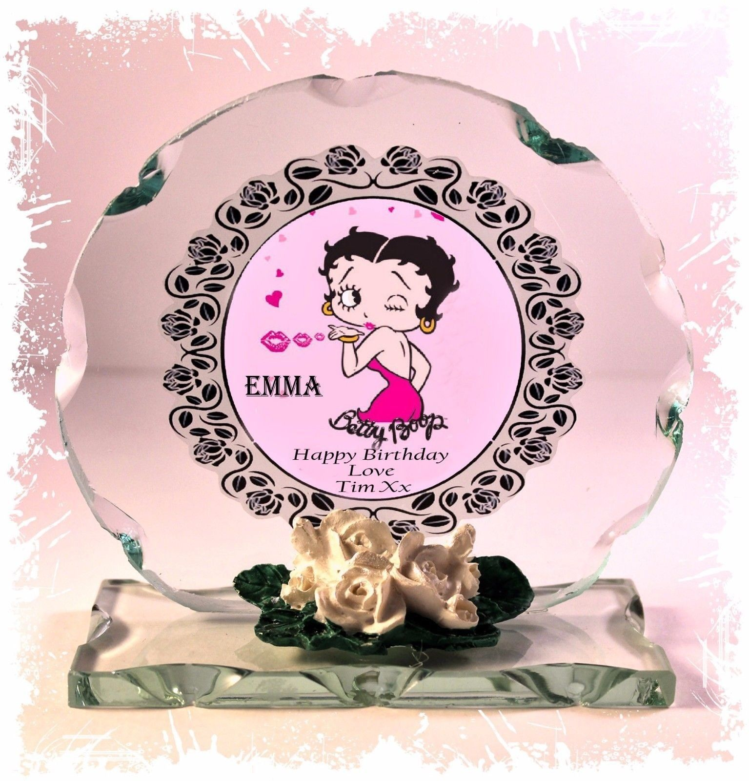 Betty Boop Personalised Birthday Cut Glass Round Plaque Special Edition #1