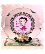 Betty Boop Personalised Birthday Cut Glass Round Plaque Special Edition #1 - $32.02