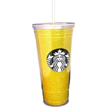 Starbucks To Go Gold Glitter Bling Plastic Tumbler Cup 20 Oz WITH STRAW  - $24.49