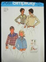 vtg SIMPLICITY 7051 Pattern Western Shirt 2 styles Size 16 UnCut 1975 w/... - $6.99