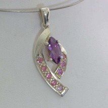 Pendant Purple Amethyst Pink Tourmaline Handmade Silver Ladies Dangle De... - $84.55