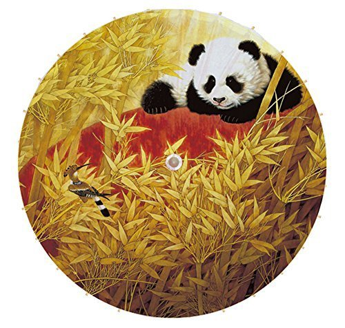 [Panda & Bird] Rainproof Handmade Chinese Panda Oil Paper Umbrella 33 inches