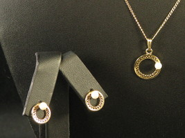 CULTURED PEARL  Necklace & Pierced Earrings Set   1/20 12K GF   Sarah Coventry - $29.95