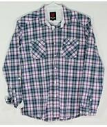 One 90 One Mens XL Long Sleeve Dress Shirt Purple Blue Plaid (I33) - $9.50