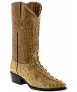 Mens Sand Cowboy Boots Leather Crocodile Ostrich Pattern Western J Toe Bota - $99.99