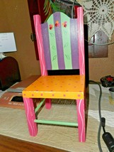 """Wooden Doll Size Chair 10"""" Tall High-back Style Painted/From EVE CANDY 1... - $14.84"""