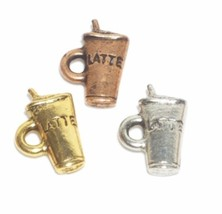 LATTE CUP FINE PEWTER PENDANT CHARM - 9mm x 14mm x 3mm
