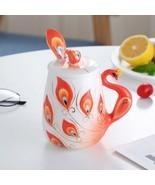 Orange Enamel 3D Peacock Coffee Mugs Drinkware + Cover Lid + Spoon - $62.75