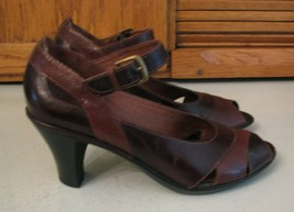 Clarks Brown Leather Pumps Woman's SHOES 7.5 M Open Toe w Strap Office Casual - $15.83