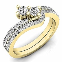Beautiful Rd White Cz Dia. 14K Yellow Gold Fn Bypass Bridal Engagement Ring Set - $85.99