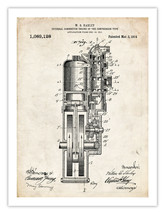 """First Harley Motorcycle Engine Invention Poster 1914 Us Patent Print 18X24"""" Gift - $24.95"""