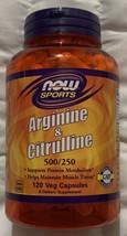 NOW Sports Arginine & Citrulline 500/250 120 Veg Capsules Non-GMO Free S... - $28.69