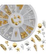 Gold Silver 3D Metal Ocean Life Shell Conch Feather Starfish Nail Art De... - $1.60