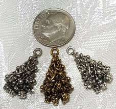 DECORATED CHRISTMAS PINE TREE FINE PEWTER PENDANT CHARM - 13mm x 22.5mm x 6mm image 2