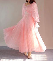 Pink Tutu Dress for Adults Gown Long Sleeve Retro Pink Plaid Tutu Birthday Gown image 3