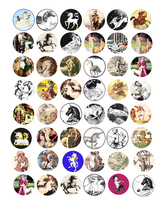 satyr unicorn pegasus art clip art digital download collage sheet 1 inch... - $3.99