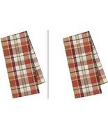 Design Imports Pumpkin Spice Fall Plaid Dish Towel Set of Two, Cotton, NWT - $23.00