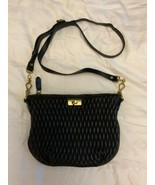J CREW Baby Brompton Black Leather Quilted Crossbody Handbag - $37.08